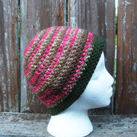 Crochet skullcap beanie in pink and olive, ready to ship.