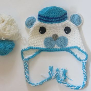 Captain Barnacles Octonauts Crochet Hat for kids, Fleece Lining, Earflap Hat, Free shipping