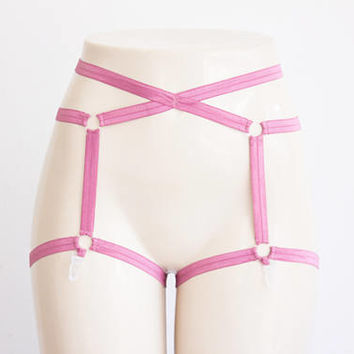 Pink Garter Belt: Rose Lingerie, Body Harness, Harness Lingerie, Pin Up Lingerie, Strappy Lingerie, Plus Size Lingerie, Exotic Dancewear