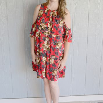Fire and Ice Floral Print Dress