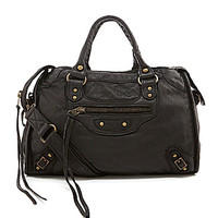 Tano Distressed Leather Satchel - Black
