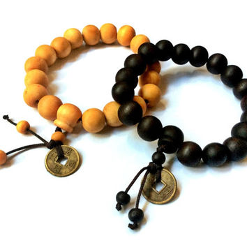wood beads stretch bracelet with Chinese coin, Mala prayer beads, lucky charm
