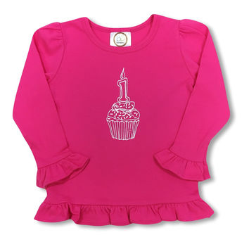 1st Birthday Pink Long Sleeve Ruffle Tee