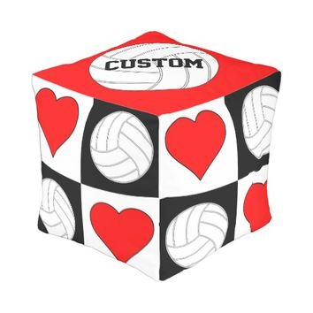 Volleyballs & Hearts Black & White Checkered Pouf