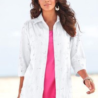 Roamans Plus Size Gauze Bigshirt with Eyelet $14.89