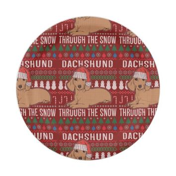 Dachshund Through The Snow Ugly Christmas Sweater Paper Plate