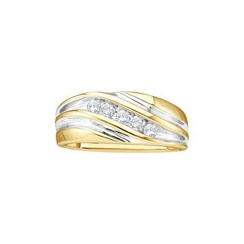 14kt Yellow Two-tone Gold Mens Round Diamond Wedding Anniversary Band Ring 1/4 Cttw