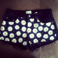 Daisy High-Waisted Black Denim Shorts