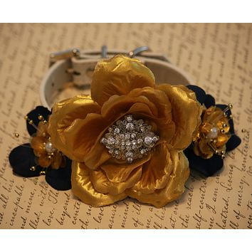 Navy and Gold wedding Floral Dog collar, Navy Pet Wedding, Gold Floral Collar