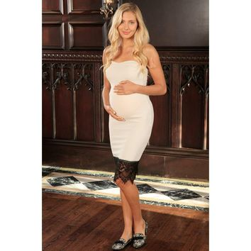 Ivory Beige Stretchy Sweetheart Chic Strapless Dress - Women Maternity