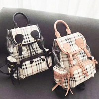 Burberry New Fashion Shopping Canvas Plaid Backpack Tote Satchel Shoulder Bag Black