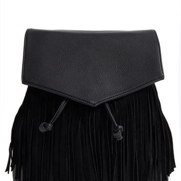 Street Level Fringe Flap Faux Leather Backpack | Nordstrom