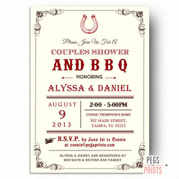BBQ Couples Shower Invitation - Country Couples Shower Invitation Printable - Couples Shower Invites - I Do BBQ Couples Shower
