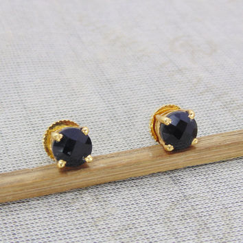 Black Onyx Studs - Post Earrings - Prong Set Studs - Gemstone Earrings - Small Stud Earrings - Gold Plated Earrings - Onyx Stud Earrings