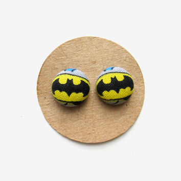 Batman Fabric Button Earrings, Batman Accessories, Superhero Earrings, Comic Book Heroes