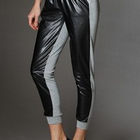 Two Toned Faux Leather Front Panel Capri Jogger Pants With Side Pocket - Clothing