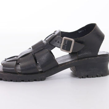 90s Black Fisherman Sandals Chunky Platform Strappy Leather Boho Hipster Goth Vintage Shoes Womens Size US 8 UK 6 EUR 38-39