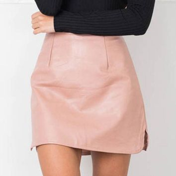 2016 New Arrival Ol Pu Leather Skirts High Waist Sexy Vintage A Line Office Skirts Womens Solid Mini Bodycon Skirt Plus Size
