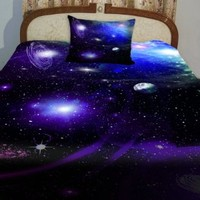 Anlye Purple Blue Teen Galaxy Bedding Designing Set 2 Sides Printing Out Space Quilt Coverlet Dark Out Space Bed Sheets with 2 Decor Pillow Covers Full