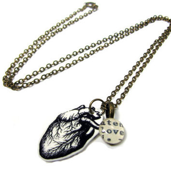 Anatomical Heart Love Word Necklace in Copper Extra Long Library Jewelry