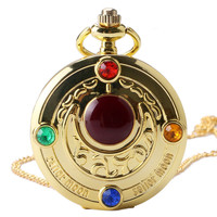 Golden Sailor Moon  Theme Necklace Pendant Quartz Pocket Watch With Necklace Chain Girl Gift Free Shipping
