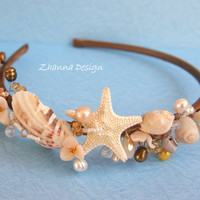 Beach Bridal Tiara,Wedding SeaShell Headpiece,Freshwater Pearls Starfish Crown,Wedding Accessories,Mermaid Hair handmade by Zhanna Design