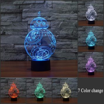 Touch switch Novelty 3D Decorative Lamp 7 color changes Entertainment Star Wars BB-8 phantom LED Lamp USB Table Light RGB Night