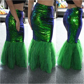 Green Blue Sequin Stretch Spandex Mermaid Tail Skirt with Tulle Train