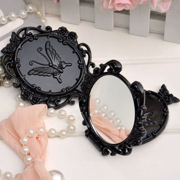 Black Single sided Butterfly Vintage mini pocket makeup mirror cosmetic compact mirrors espelho de maquiagem espejos de bolsillo