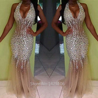 2017 Shining Sequined Halter Mermaid Prom Dresses See Through Formal Party Gown Silver Pageant Dress Vestido De Noche Longo