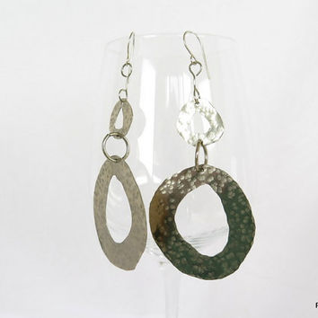 Tribal hoop earrings, long hammered hoops, modern metal jewelry, gift under 45