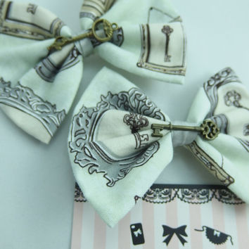Vintage Inspired Skeleton Key and Ornate Frames Fabric Handmade Hair Bow with Bronze Antique Key Charm