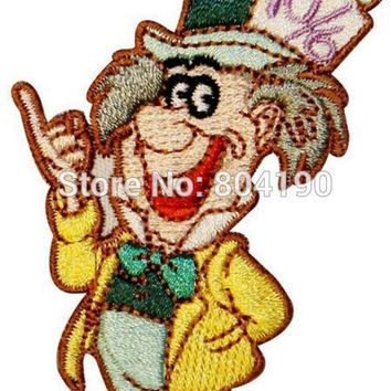 "3.5"" Alice In Wonderland Mad Hatter Movie TV Uniform Embroidered IRON ON/ SEW ON Patch Badge"