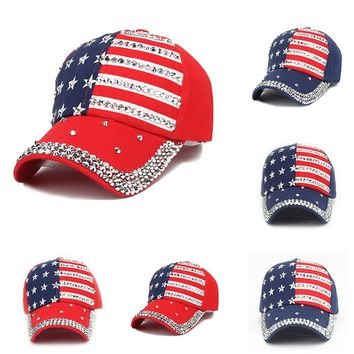 Adjustable Unisex American Flag Rhinestone Studded Denim Baseball Cap