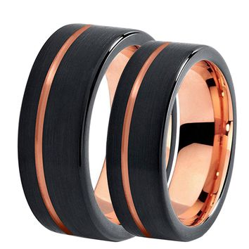 Men's Tungsten Carbide & 18K Rose Gold Wedding Band