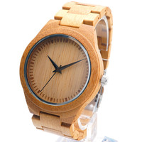 New Men's Luxulry Top Brand Design Watches Colorful Hour Hands Wood Wristwatches for Men Customized Bamboo Wooden Watches