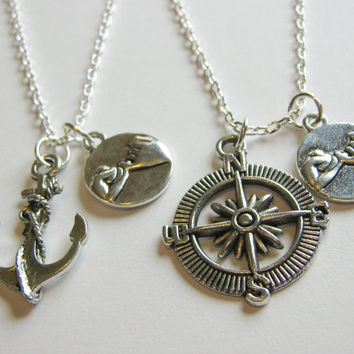 2 Pinky Promise Pinky Swear Anchor and Compass Best Friends BFF Sisters Couples Necklaces