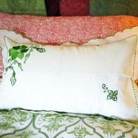 Fine Chiffonille Pillow Shams, Crisp White with Green Embroidered Flowers, Standard Size, Set of 2