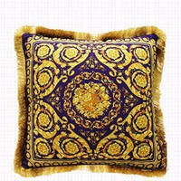 "Gold Blue Flower Pillow Embellished With Trim 20""X20"""
