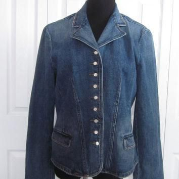 Vintage Denim Jacket, Ralph Lauren Fitted Denim Jacket, Ladies Womens Large, Faded Den