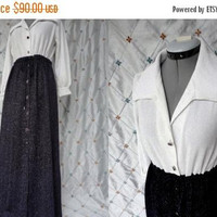ON SALE 60s Party Dress // Vintage 1960s Metallic White and Deep Purple Maxi Party Dress Size M L