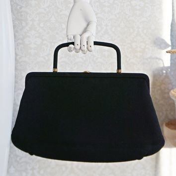 Vintage 1950s Jet Black + Wool Clutch Handbag