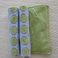 Two Flannel Burp Cloths, Green, Blue, and Gray Geometric pattern with green back