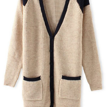 ROMWE Single-breasted Contrast Trimming Pocketed Cream Cardigan