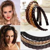 1pc Womens Braided Synthetic Hair Plaited Plait Elastic Headband Hairband 2016 Hair Accessories