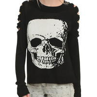 Jawbreaker Black Slashed Arm White Skull Sweater