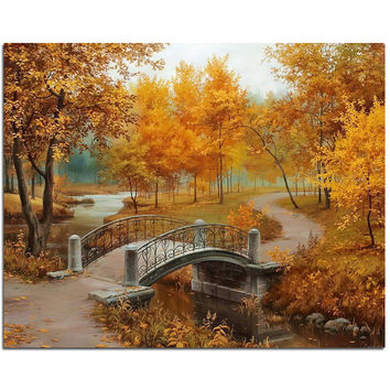 new full Diy diamond painting kit 3D cross stitch Square Diamond embroidery Autumn Scenic Brudge Diamond Mosaic Crafts ZX