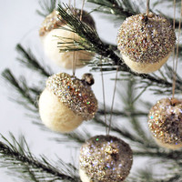 Glittered Acorn Christmas ornaments set of five icy silver
