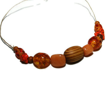 Orange You Glad hemp beaded Necklace  OOAK ETSY by chumaka on Etsy