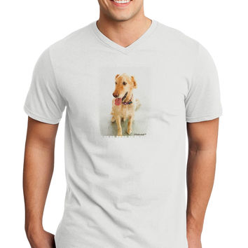 Golden Retriever Watercolor Adult V-Neck T-shirt